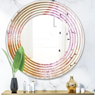 Designart 'Crystals of Amethyst in Agate' Modern Round or Oval Wall Mirror - Wave