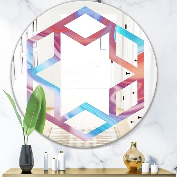 Designart 'Abstract Marbled Background' Modern Round or Oval Wall Mirror - Hexagon Star - Multi
