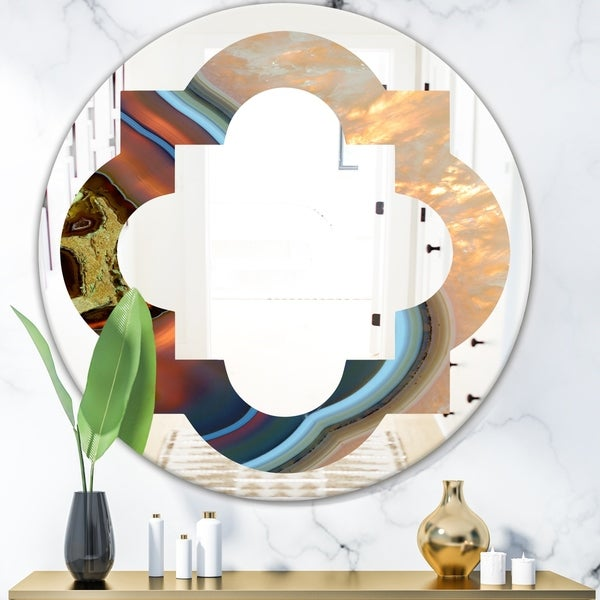 Designart 'Abstract Mineral Texture' Modern Round or Oval Wall Mirror - Quatrefoil