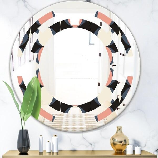 Designart 'Retro Circular Pattern II' Modern Round or Oval Wall Mirror - Space