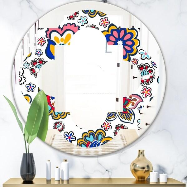 Designart 'Retro handdrawn flowers II' Modern Round or Oval Wall Mirror - Quatrefoil - Multi