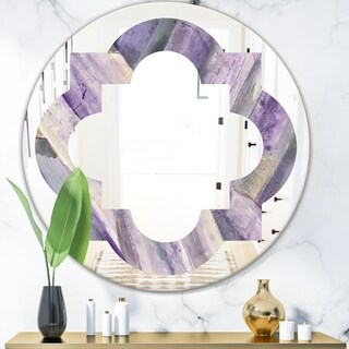 Designart 'Geometric Purple Glacier' Modern Round or Oval Wall Mirror - Quatrefoil