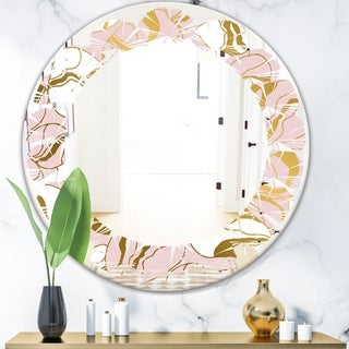 Designart 'Golden Marble II' Modern Round or Oval Wall Mirror - Leaves