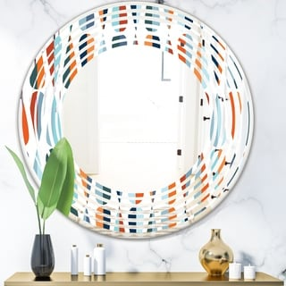 Designart 'Retro Abstract Drops V' Modern Round or Oval Wall Mirror - Wave