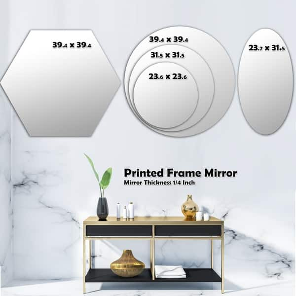 Designart Tropical Cooconut And Jungle Flowers Modern Round Or Oval Wall Mirror Triple C Overstock 29913216