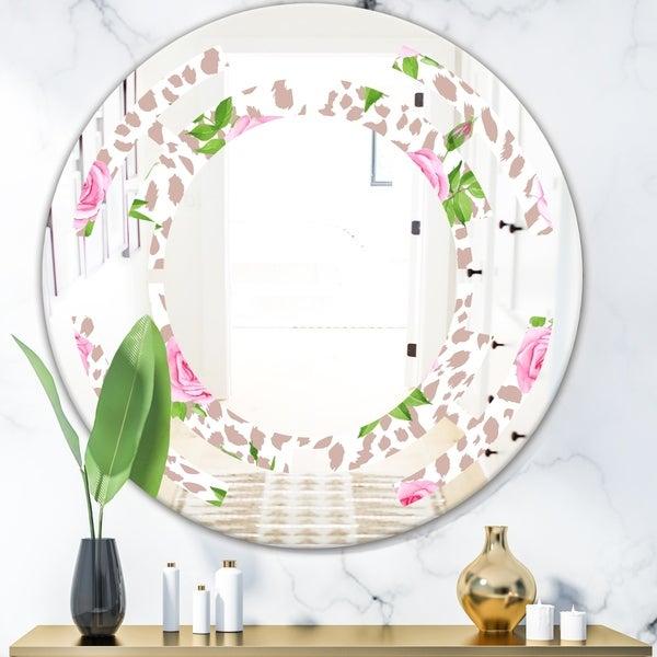 Designart 'Leopard Fur Safari IV' Modern Round or Oval Wall Mirror - Space