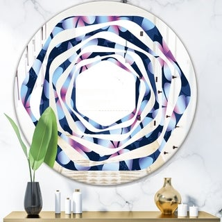 Designart 'Retro Frangipani Flowers' Modern Round or Oval Wall Mirror - Whirl