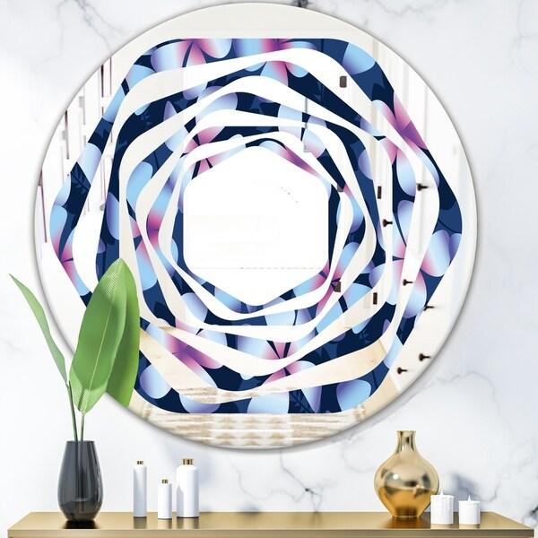 Designart 'Retro Frangipani Flowers' Modern Round or Oval Wall Mirror - Whirl