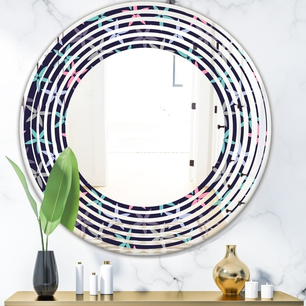 Designart 'Retro Abstract Flower Design V' Modern Round or Oval Wall Mirror - Wave