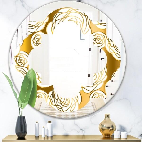 Designart 'Golden Floral III' Modern Round or Oval Wall Mirror - Quatrefoil