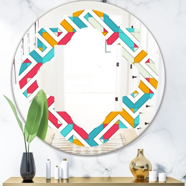 Designart 'Abstract Retro Geometry I' Modern Round or Oval Wall Mirror - Quatrefoil