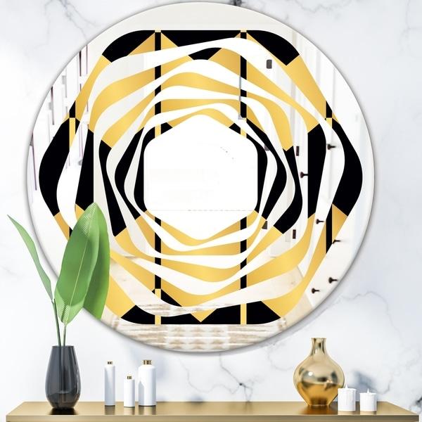 Designart 'Golden Luxury Metallic Geometrics V' Modern Round or Oval Wall Mirror - Whirl