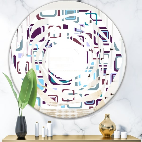 Designart 'Retro Square Design I' Modern Round or Oval Wall Mirror - Whirl