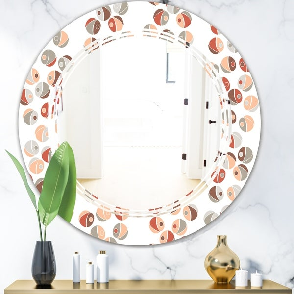 Designart 'Retro Abstract Design XIX' Modern Round or Oval Wall Mirror - Triple C