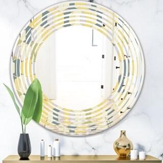 Designart 'Abstract Retro Geometrical Design II' Modern Round or Oval Wall Mirror - Wave