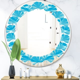 Designart 'Light Blue Wave pattern' Modern Round or Oval Wall Mirror - Leaves