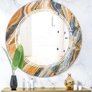 Designart 'Marbled Geode 4' Modern Round or Oval Wall Mirror - Triple C