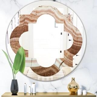 Designart 'Crystals minerals and stones' Modern Round or Oval Wall Mirror - Quatrefoil