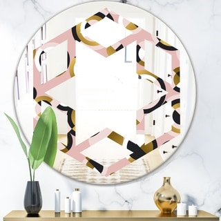 Designart 'Circular geometric shapes retro pattern' Modern Round or Oval Wall Mirror - Hexagon Star