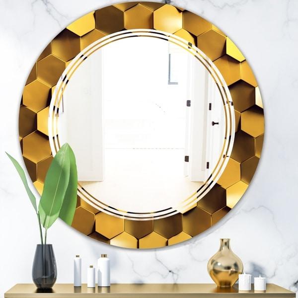 Designart 'Golden Honeycomb Wall Texture' Modern Round or Oval Wall Mirror - Triple C