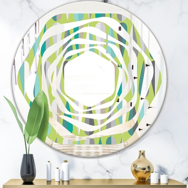 Designart 'Retro Abstract Drops VI' Modern Round or Oval Wall Mirror - Whirl