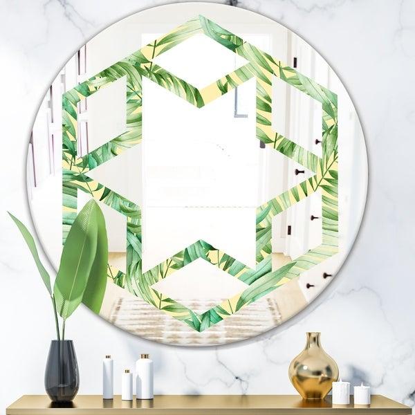 Designart 'Tropical Retro Foliage' Modern Round or Oval Wall Mirror - Hexagon Star
