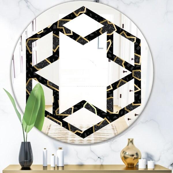 Designart 'Gold Retro 80s' Modern Round or Oval Wall Mirror - Hexagon Star