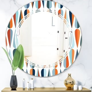 Designart 'Retro Abstract Drops V' Modern Round or Oval Wall Mirror - Triple C