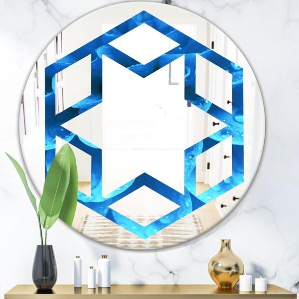 Designart 'Large Light Blue Flower and Petals' Modern Round or Oval Wall Mirror - Hexagon Star