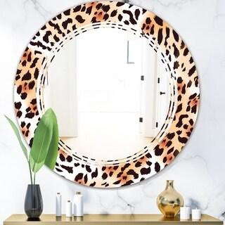 Designart 'Leopard Fur Safari II' Modern Round or Oval Wall Mirror - Triple C