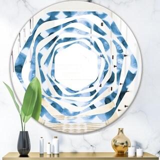 Designart 'Indigo watercolor geometrical VI' Modern Round or Oval Wall Mirror - Whirl