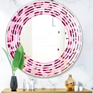 Designart 'Pink Leopard Pattern' Modern Round or Oval Wall Mirror - Wave