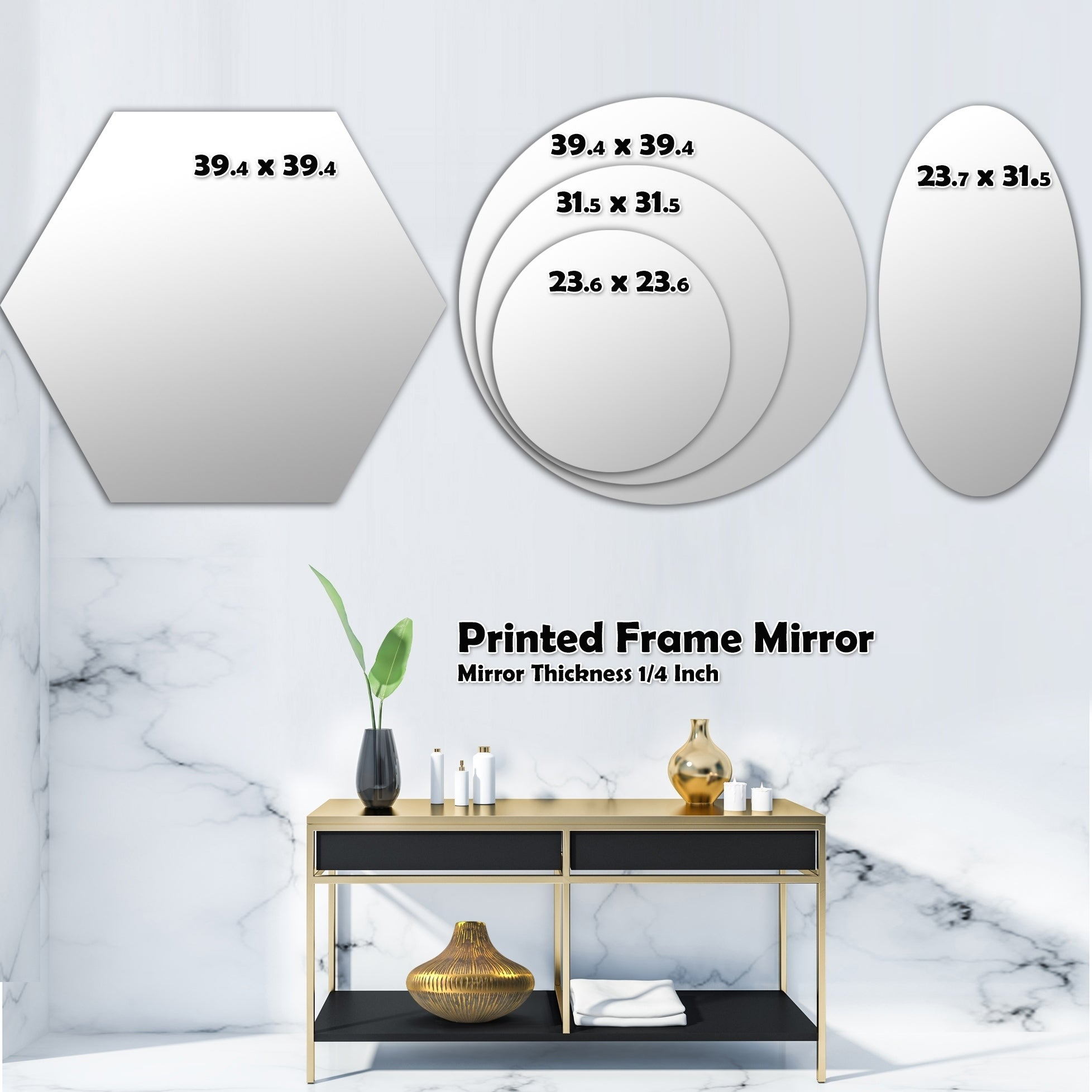Designart Trendy Gold Chain Pattern Modern Round Or Oval Wall Mirror Triple C On Sale Overstock 29913321