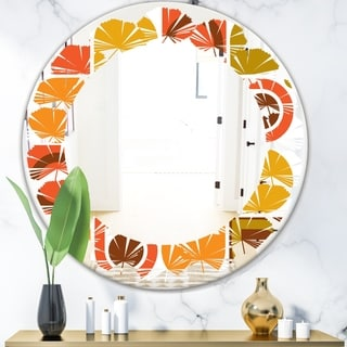 Designart 'Abstract Retro Geometric Pattern VI' Modern Round or Oval Wall Mirror - Leaves