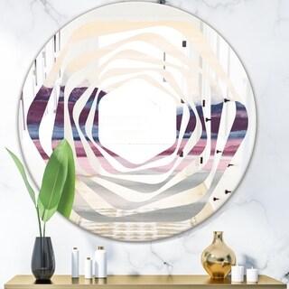 Designart 'Purple Rock Landscape' Modern Round or Oval Wall Mirror - Whirl