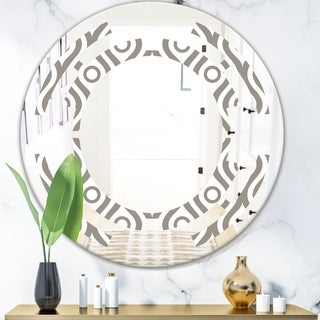 Designart 'Retro Geometrical Abstract Minimal Pattern XIV' Modern Round or Oval Wall Mirror - Space