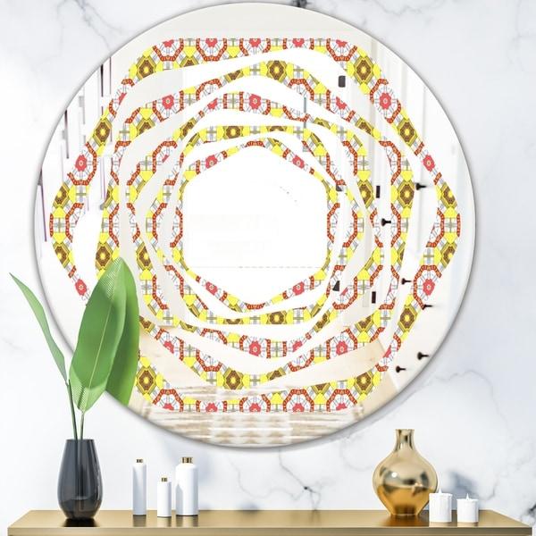 Designart 'Retro Ethnic Abstract Kaleidoscope Design' Modern Round or Oval Wall Mirror - Whirl