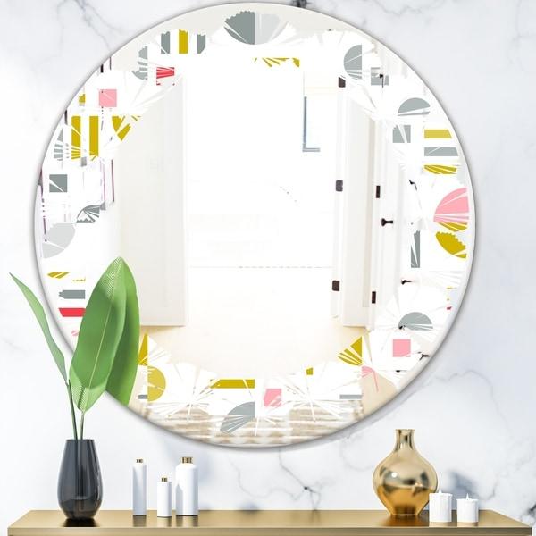 Designart 'Retro Abstract Design XVI' Modern Round or Oval Wall Mirror - Leaves