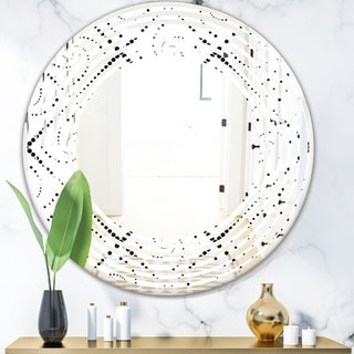 Designart 'Retro Geometrical Abstract Minimal Pattern III' Modern Round or Oval Wall Mirror - Wave