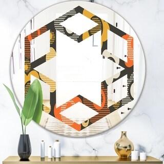 Designart 'Retro Floral Pattern VII' Modern Round or Oval Wall Mirror - Hexagon Star