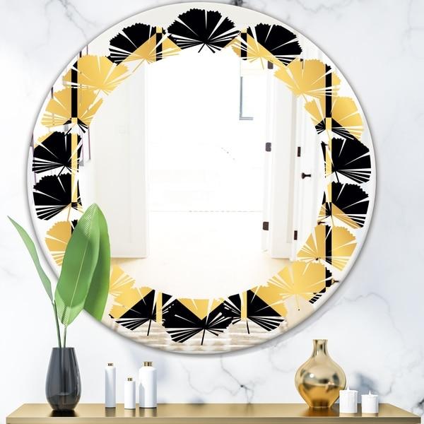 Designart 'Golden Luxury Metallic Geometrics V' Modern Round or Oval Wall Mirror - Leaves