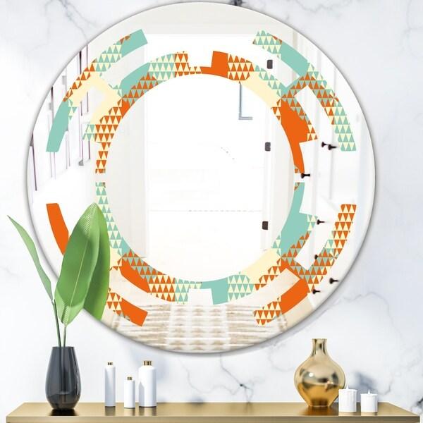 Designart 'Retro Hexagon Pattern VIII' Modern Round or Oval Wall Mirror - Space