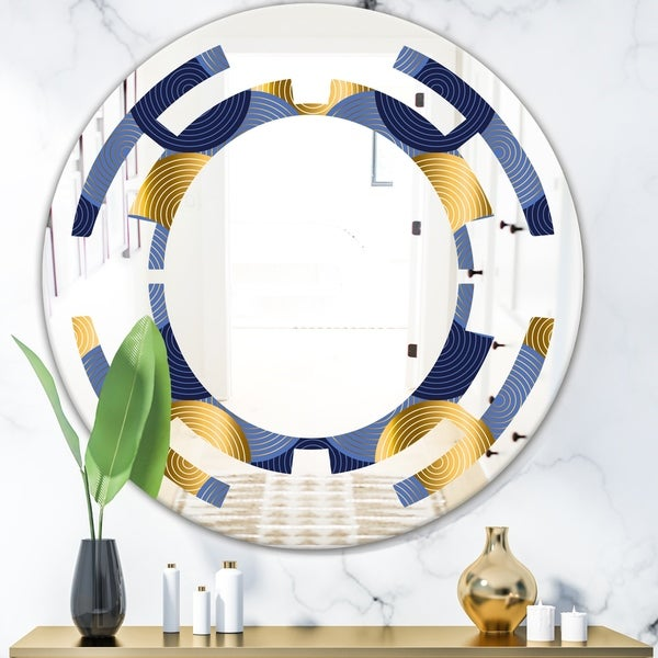 Designart 'Retro Luxury Waves In Gold and Blue VIII' Modern Round or Oval Wall Mirror - Space