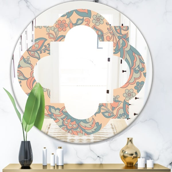 Designart 'Retro Indian Floral Batik II' Modern Round or Oval Wall Mirror - Quatrefoil
