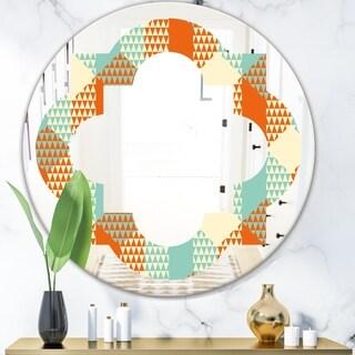 Designart 'Retro Hexagon Pattern VIII' Modern Round or Oval Wall Mirror - Quatrefoil