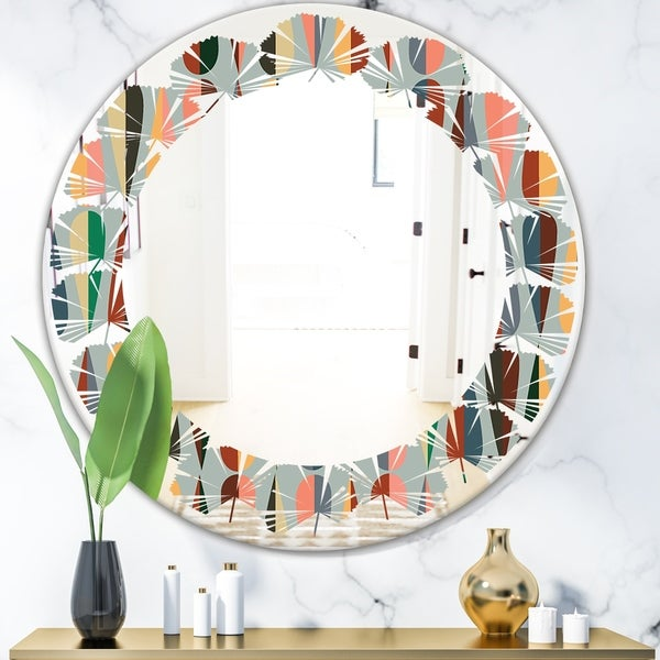 Designart 'Retro Abstract Drops IX' Modern Round or Oval Wall Mirror - Leaves - Multi