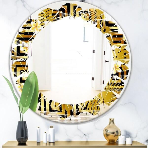 Designart 'Modern gold luxury pattern' Modern Round or Oval Wall Mirror - Leaves
