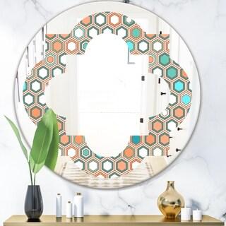 Designart 'Retro Hexagon Pattern III' Modern Round or Oval Wall Mirror - Quatrefoil - Multi