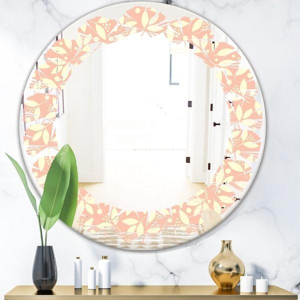 Designart 'Retro Floral Pattern V' Modern Round or Oval Wall Mirror - Leaves