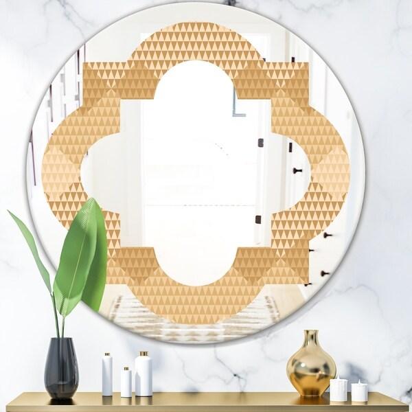 Designart 'Beige Retro Triangular Wave' Modern Round or Oval Wall Mirror - Quatrefoil